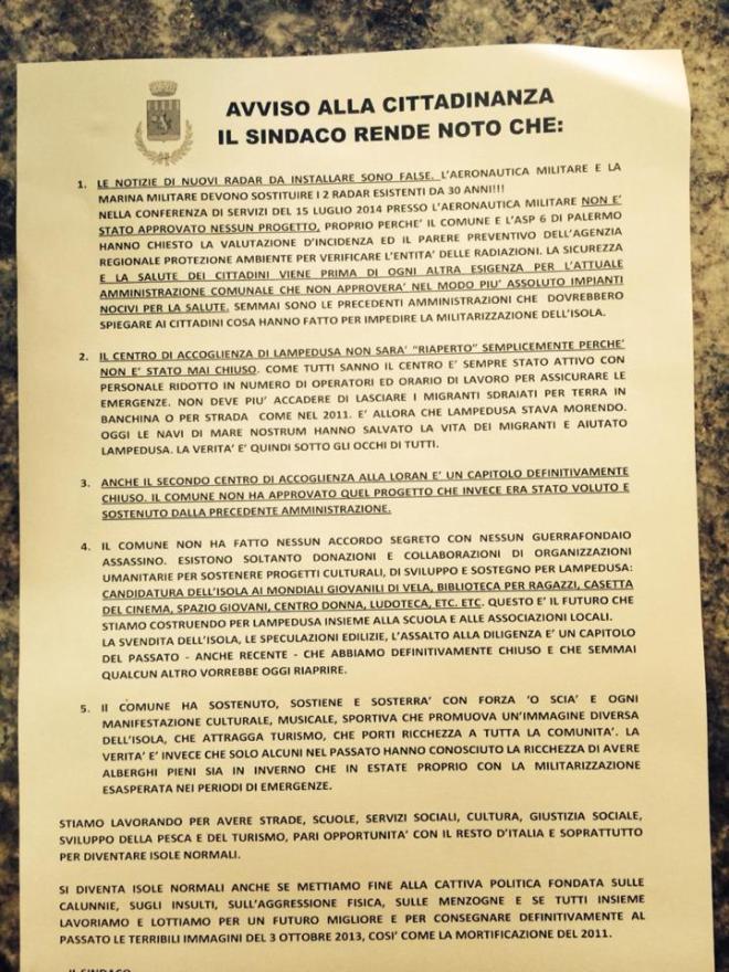 COMUNICATO DEL SINDACO DI LAMPEDUSA E LINOSA